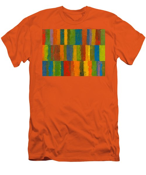 Men's T-Shirt (Slim Fit) featuring the painting Color Collage With Stripes by Michelle Calkins