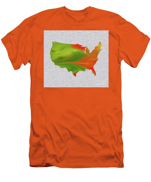 Colorful Art Usa Map Men's T-Shirt (Slim Fit) by Saribelle Rodriguez