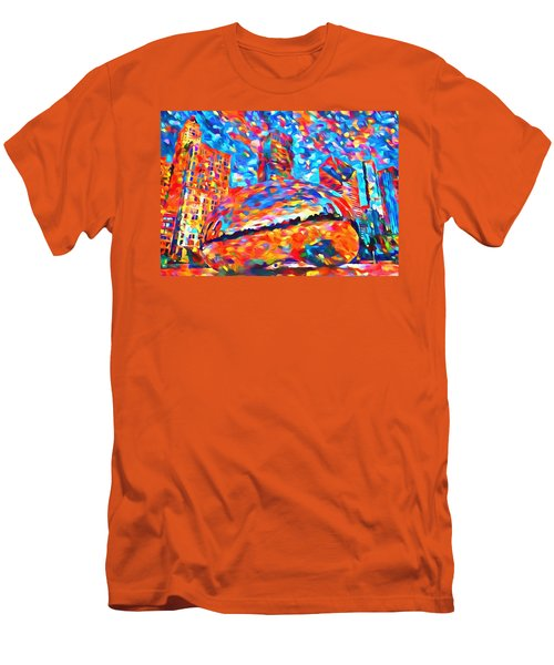 Men's T-Shirt (Slim Fit) featuring the painting Colorful Chicago Bean by Dan Sproul