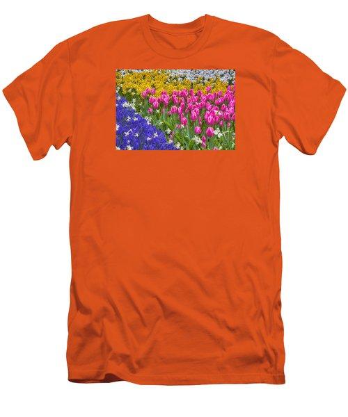 Colorful Flowers Men's T-Shirt (Slim Fit) by Nadia Sanowar