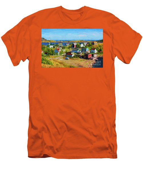 Colorful Homes In Trinity, Newfoundland - Painterly Men's T-Shirt (Slim Fit) by Les Palenik