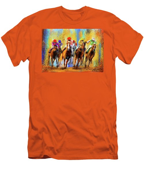 Colorful Horse Racing Impressionist Paintings Men's T-Shirt (Athletic Fit)