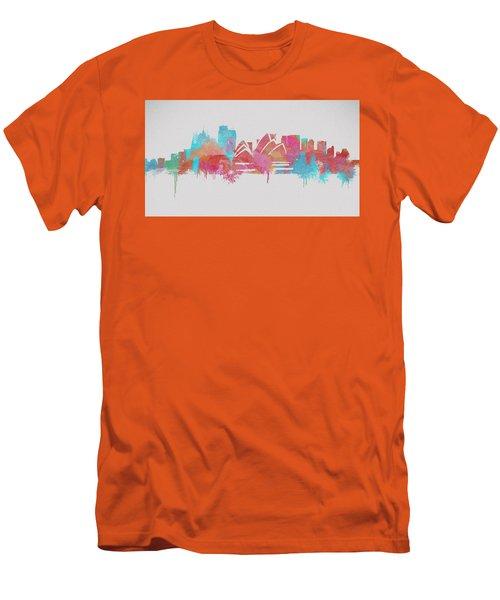 Colorful Sydney Skyline Silhouette Men's T-Shirt (Athletic Fit)
