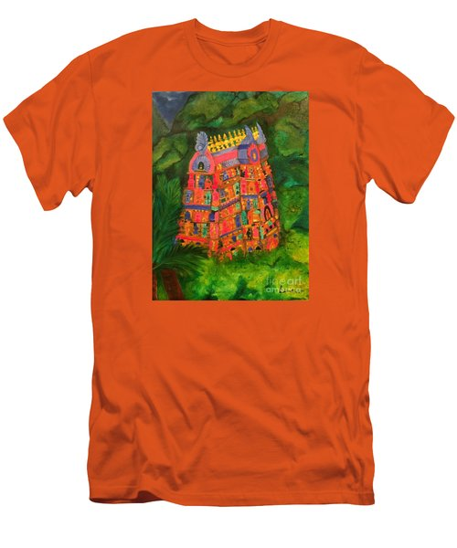Men's T-Shirt (Slim Fit) featuring the painting Colorful Temple Gopuram by Brindha Naveen