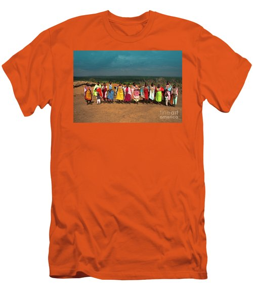 Men's T-Shirt (Slim Fit) featuring the photograph Colors And Faces Of The Masai Mara by Karen Lewis