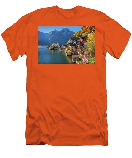 Colourful Hallstatt Men's T-Shirt (Slim Fit) by JR Photography