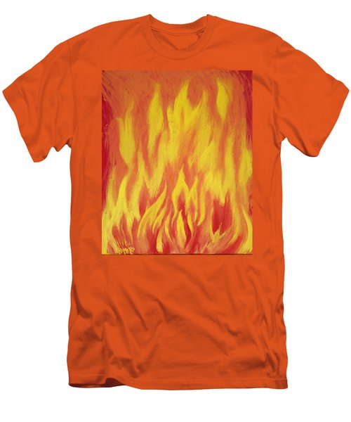 Men's T-Shirt (Slim Fit) featuring the painting Consuming Fire by Antonio Romero