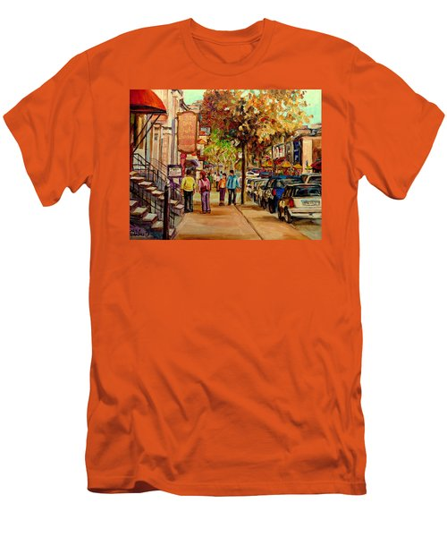 Men's T-Shirt (Slim Fit) featuring the painting Crescent Street Montreal by Carole Spandau