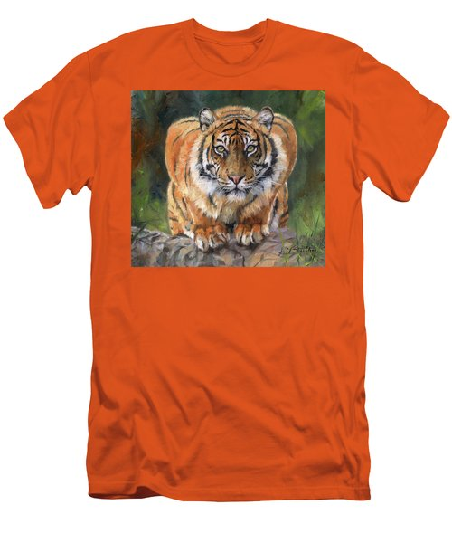 Men's T-Shirt (Slim Fit) featuring the painting Crouching Tiger by David Stribbling