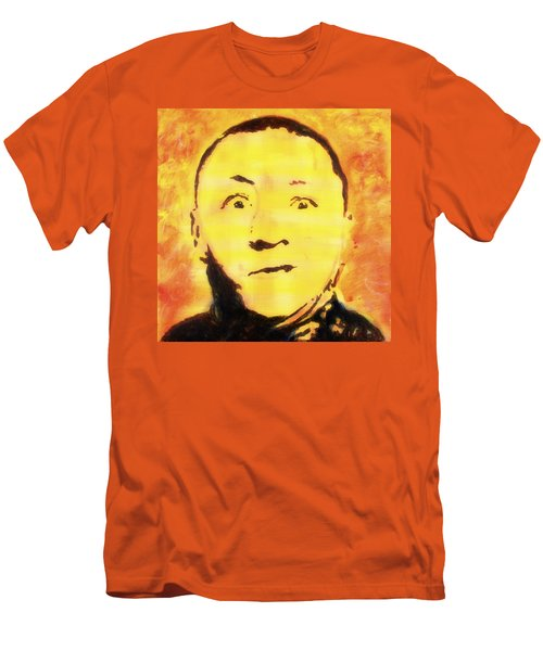 Men's T-Shirt (Athletic Fit) featuring the painting Curly Howard Three Stooges Pop Art by Bob Baker