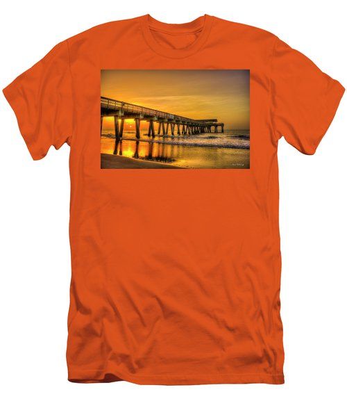 Men's T-Shirt (Athletic Fit) featuring the photograph Dawn Under Tybee Island Pier Sunrise Reflections Art by Reid Callaway
