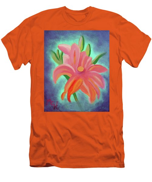 Men's T-Shirt (Slim Fit) featuring the painting Daylily At Dusk by Margaret Harmon
