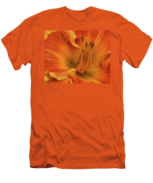 Men's T-Shirt (Slim Fit) featuring the photograph Daylily Close-up by Sandy Keeton
