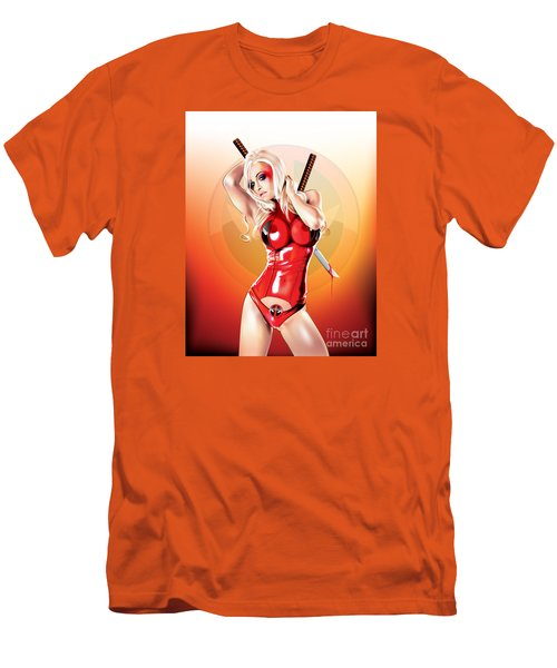 Men's T-Shirt (Slim Fit) featuring the drawing Deadpool With Jen by Brian Gibbs