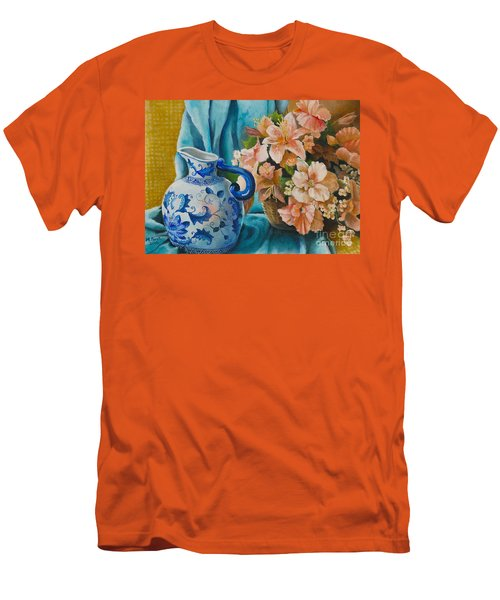 Men's T-Shirt (Athletic Fit) featuring the painting Delft Pitcher With Flowers by Marlene Book