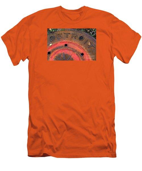Detroit Manhole Cover Spray Painter Red Men's T-Shirt (Slim Fit) by Sandra Church