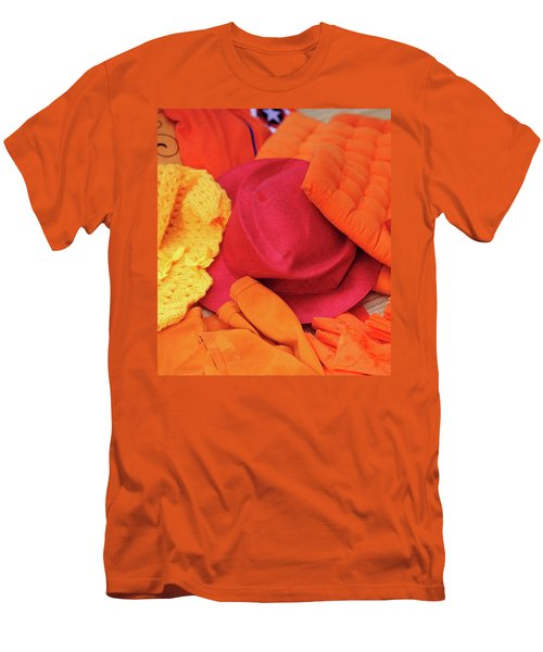Men's T-Shirt (Slim Fit) featuring the photograph Display Of Orange And Red Clothing by Jenny Rainbow
