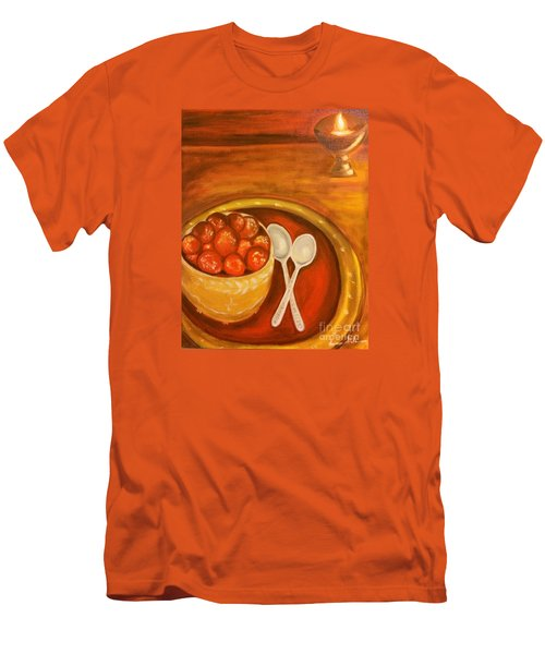 Men's T-Shirt (Slim Fit) featuring the painting Diwali Sweets by Brindha Naveen