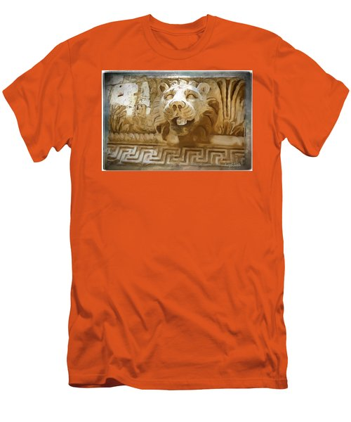 Men's T-Shirt (Slim Fit) featuring the photograph Do-00313 Lion Water Feature by Digital Oil