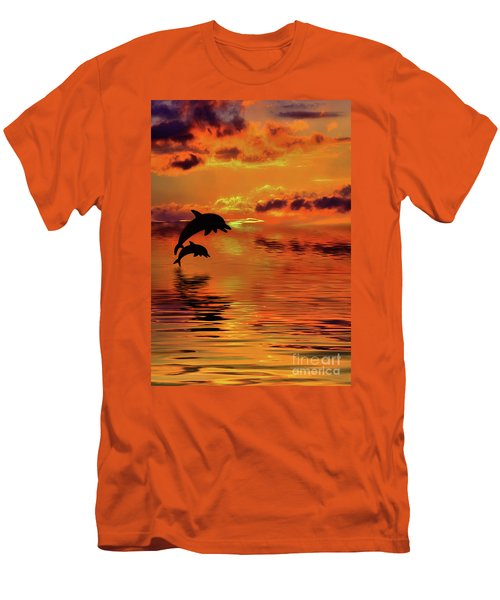 Men's T-Shirt (Athletic Fit) featuring the digital art Dolphin Silhouette Sunset By Kaye Menner by Kaye Menner
