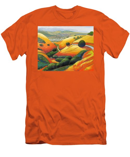 Men's T-Shirt (Slim Fit) featuring the painting Down Metcalf Road by Gary Coleman