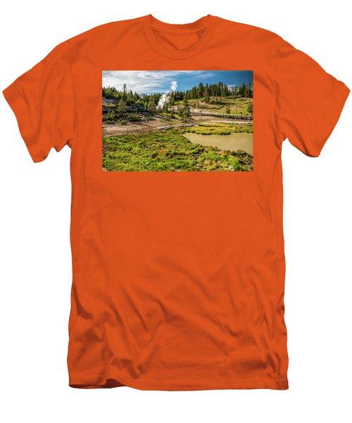 Dragon Geyser At Yellowstone Men's T-Shirt (Slim Fit) by Hyuntae Kim