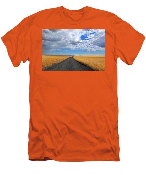 Driving Through The Wheat Fields Men's T-Shirt (Slim Fit) by Lynn Hopwood