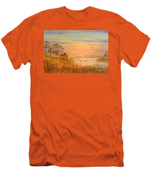 Men's T-Shirt (Athletic Fit) featuring the painting Duck Hunting Calls by Bill Holkham