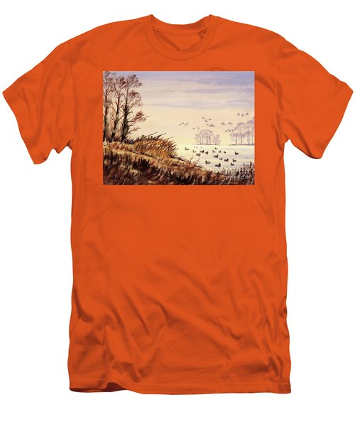 Duck Hunting Times Men's T-Shirt (Slim Fit) by Bill Holkham