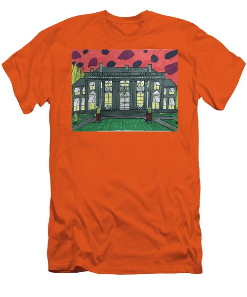 Men's T-Shirt (Slim Fit) featuring the painting Dupont Family Mansion. by Jonathon Hansen