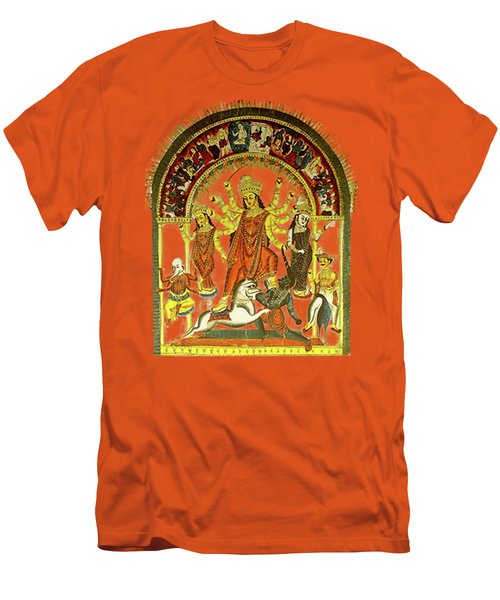 Men's T-Shirt (Slim Fit) featuring the digital art Durga by Asok Mukhopadhyay
