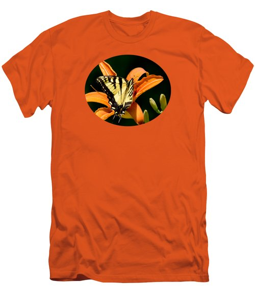 Men's T-Shirt (Athletic Fit) featuring the photograph Eastern Tiger Swallowtail Butterfly-1 by Christina Rollo
