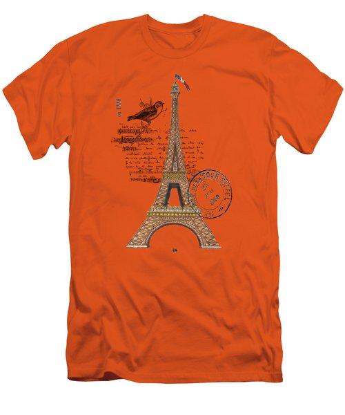 Eiffel Tower T Shirt Design Men's T-Shirt (Slim Fit)
