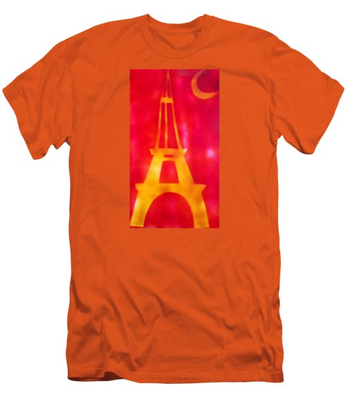 Men's T-Shirt (Slim Fit) featuring the painting Eiffel Tower Yellow Glowing by Don Koester