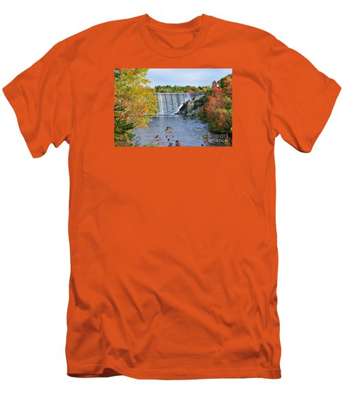 Men's T-Shirt (Slim Fit) featuring the photograph Ellsworth, Maine Dam by Debbie Stahre