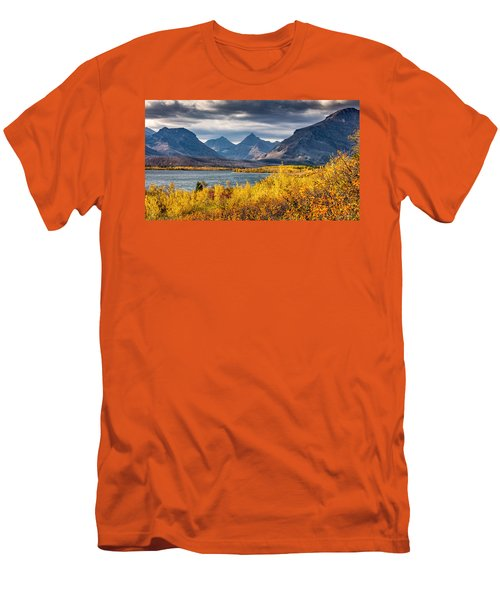 Fall Colors In Glacier National Park Men's T-Shirt (Slim Fit) by Pierre Leclerc Photography