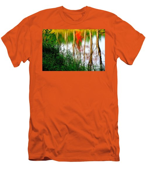 Men's T-Shirt (Slim Fit) featuring the photograph Fall Reflections by Elfriede Fulda