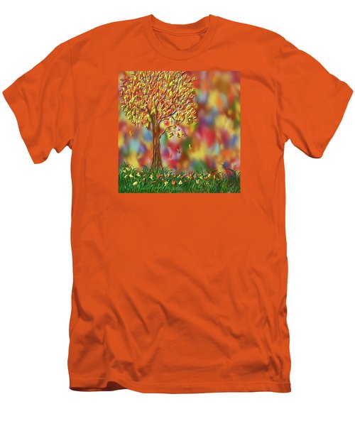 Men's T-Shirt (Slim Fit) featuring the painting Falling Leaves by Kevin Caudill