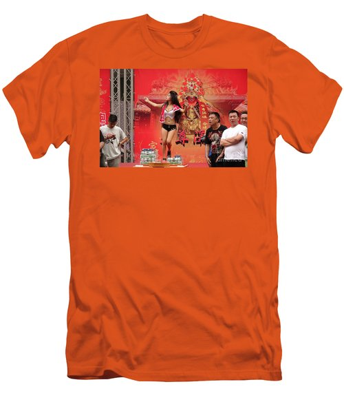 Men's T-Shirt (Slim Fit) featuring the photograph Female Dancer At A Temple Ceremony by Yali Shi