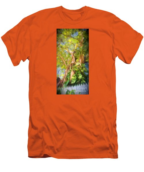 Fence And Trees In Keys Men's T-Shirt (Slim Fit) by Linda Olsen
