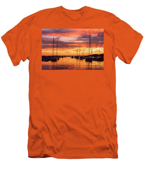 Fiery Lake Norman Sunset Men's T-Shirt (Slim Fit) by Serge Skiba