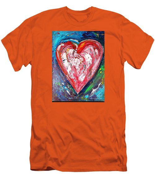Men's T-Shirt (Slim Fit) featuring the painting Fireworks by Diana Bursztein