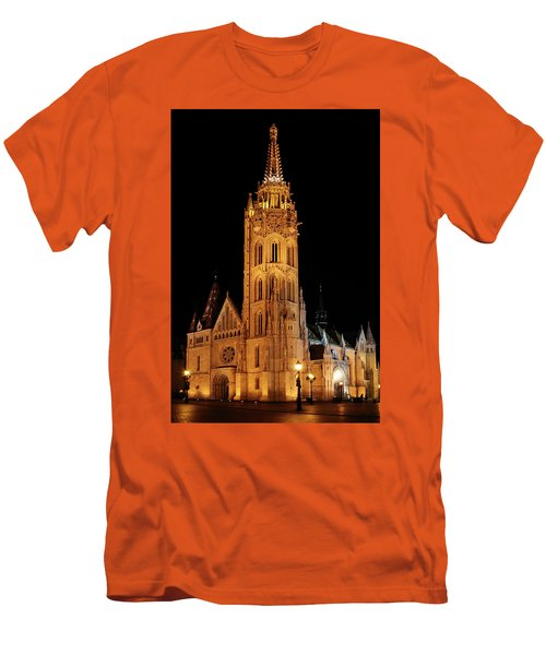 Men's T-Shirt (Slim Fit) featuring the digital art  Fishermans Bastion - Budapest by Pat Speirs