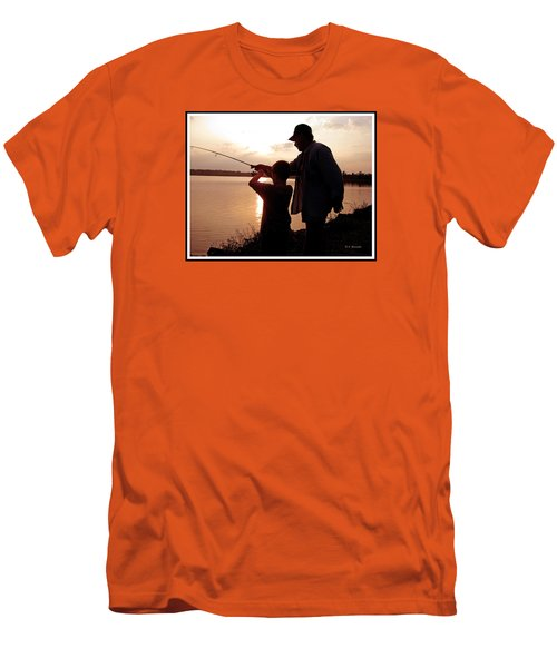Men's T-Shirt (Slim Fit) featuring the photograph Fishing At Sunset Grandfather And Grandson by A Gurmankin