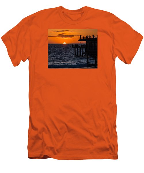 Fishing At Twilight Men's T-Shirt (Slim Fit) by Ed Clark