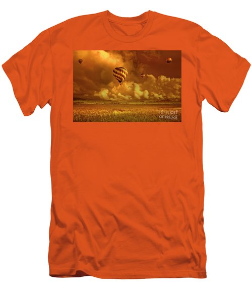 Men's T-Shirt (Slim Fit) featuring the photograph Flaming Sky by Charuhas Images