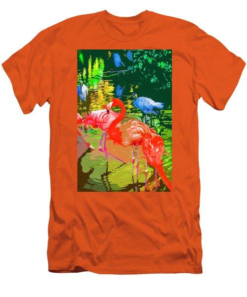 Flamingo Time Men's T-Shirt (Slim Fit) by Josy Cue
