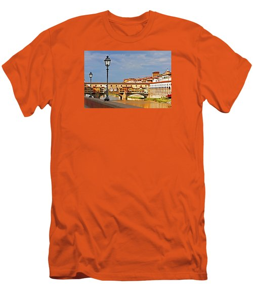 Florence Arno River View Men's T-Shirt (Slim Fit) by Dennis Cox WorldViews