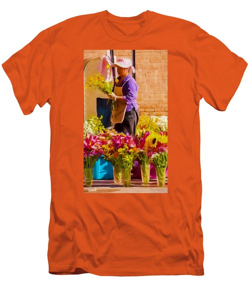 Men's T-Shirt (Slim Fit) featuring the photograph Flower Lady by Trey Foerster