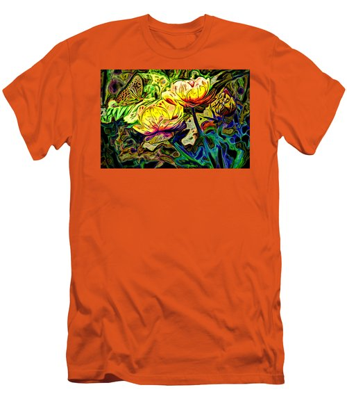 Flowers And Butterfly Men's T-Shirt (Slim Fit) by Carol Crisafi